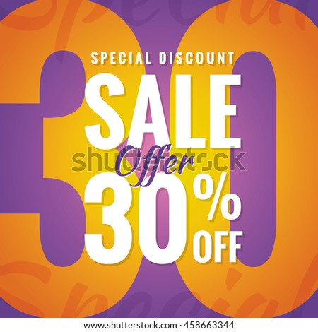 Special Discount Sale 30 percent heading simple modern design for banner or poster. Sale and Discounts Concept. Vector illustration.