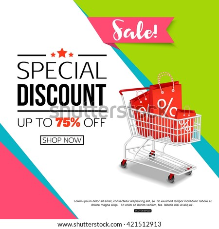Special Discount template for sale banner, poster, flyer, shop, online store. Vector eps 10 format.