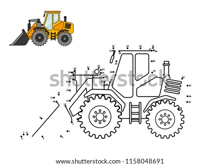 Special equipment. Bulldozer. Connect the dot and color. Game for preschool kids with simple educational gaming level.