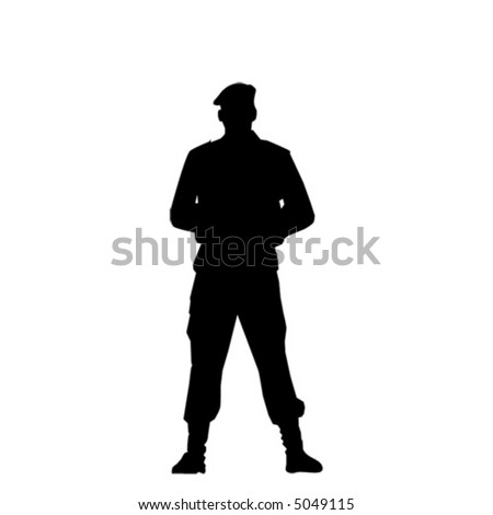 Special force man in beret. Vector silhouette