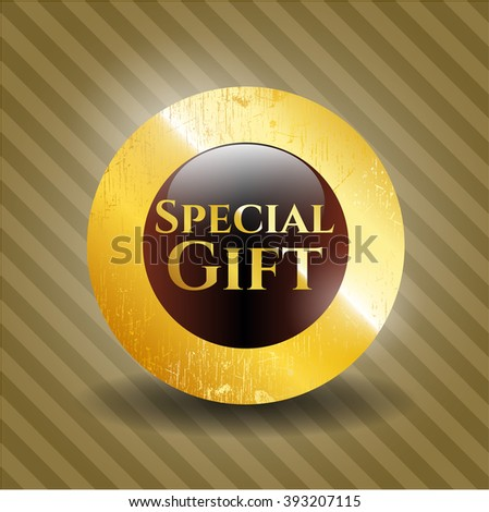 Special Gift golden emblem or badge