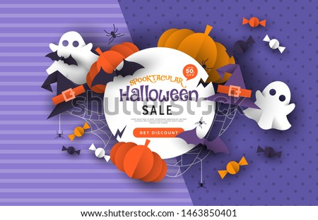 Special Halloween sale template, autumn season papercut craft decoration with discount promotion message. Online business banner for fall seasonal offer. Includes cute ghost, pumpkin, bat, candy.