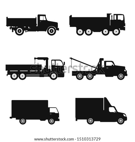 Special machinery, set of construction equipment. Collection of silhouettes of working equipment and cars. Black white vector illustration icon.
