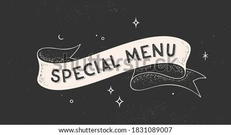 Special Menu. Vintage ribbon with text Special Menu. Black white vintage banner with ribbon, graphic design. Old school hand-drawn element for cafe, bar, restaurant, food menu. Vector Illustration