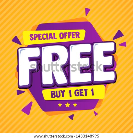 Special offer banner, hot sale, big sale, buy 1 get 1, sale banner vector, purple and orange vector banner