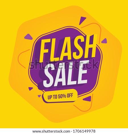 Special offer banner, hot sale, big sale, flash sale, sale banner vector, purple and orange vector banner
