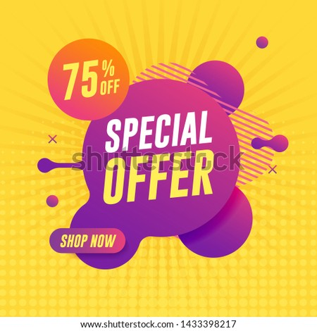 Special offer banner on yellow background. Abstract liquid banner
