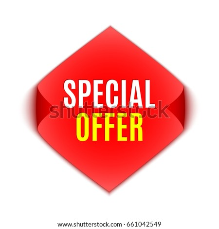 Special offer banner. Red sticker. Vector illustration.