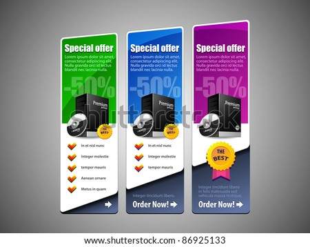 Special Offer Banner Set Vector Colored 8: Blue, Purple, Violet, Green. Showing Products Purchase Button