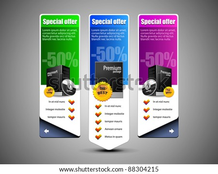 Special Offer Banner Set Vector Colored 10: Blue, Purple, Violet, Green. Showing Products Purchase Button