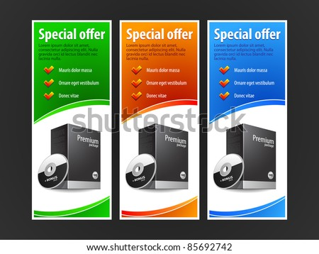 Special Offer Banner Set Vector Colored 2: Blue, Red, Green. Showing Products Purchase Button