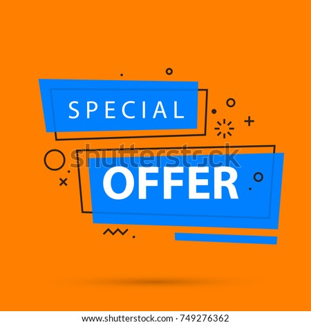 Special offer banner template in colorful memphis style on bright orange background