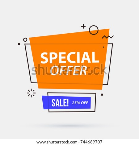 Special offer banner template in memphis geometric style on white background