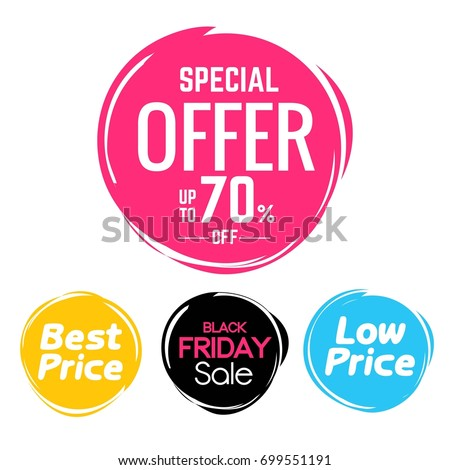 Special offer , best price, black Friday , low price round bubbles  tag design vector