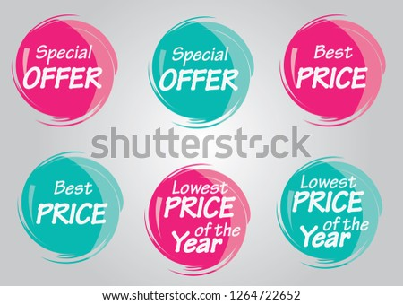 Special offer, Best price, Lowest Price of the year price tags