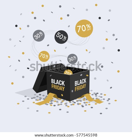 Special offer black friday discount symbol with open gift and flow labels isolated on light blue background. Easy to use for your design with transparent shadows.