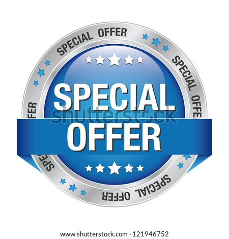 special offer blue silver button isolated background