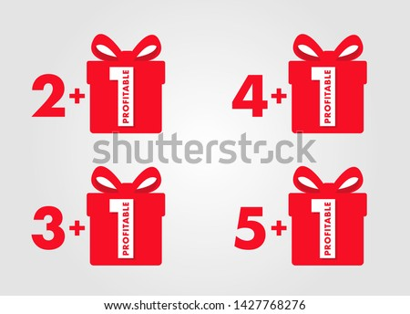 special offer buy two, three, four or five get plus one free, set of labels with red numbers and gift box, graphic element for advertising campaign