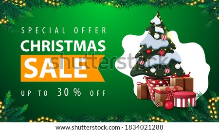 Special offer, Christmas sale, up to 30% off, green discount web banner with abstract shape on background, garland frame, frame made of Christmas tree branches and Christmas tree in a pot with gifts