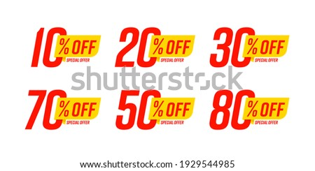 Special offer discount label with different sale percentage. 10, 20, 30, 70, 50 percent off price reduction badge promotion design emblem set vector illustration isolated on white background