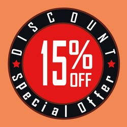 Special offer Discount 15% off vector