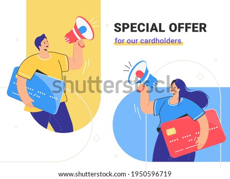 Special offer for cardholders and banking cashback for online shopping. Flat vector illustration of man and woman holding a big credit cards and shouting with megaphone. Users notification and alert