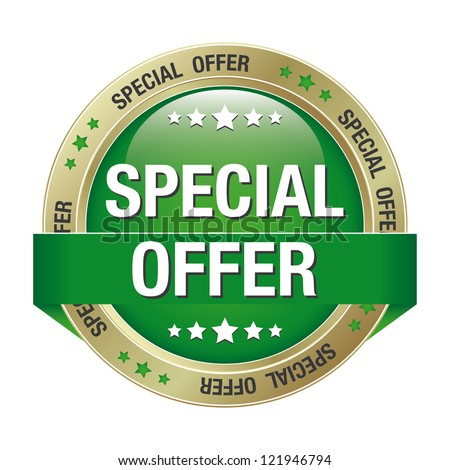 special offer green gold button isolated background