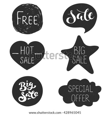 special offer, hot, free, big sale labels set with handwritten lettering phrases; hand drawn vector illustration; dark stickers for discount action in shop and market