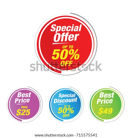 Special offer 50% Off Labels, Sales tagsl, Vector illustration.