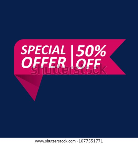 Special Offer 50% Off Tag. Vector illustration. isolated label #1077551771