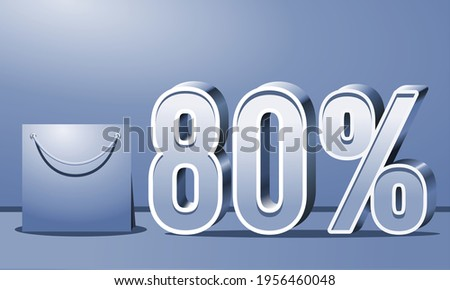 Special Offer 80% off, Up to 80% on sales, Great deals, Sales on blue background and bag, 3D blue 80%, Suitable for flyers, banners, advertisements, stickers, offer icons, etc.
