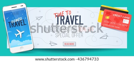 Special offer on business Travel. Business trip banner. Smartphone and credit cards. Air travel concept. Business travel illustration. 30% off.