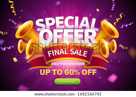Special offer pop up ads with streamers flying out from trumpets and final sale written on red ribbon for publicity, glowing purple background Сток-фото ©