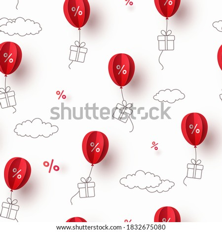 Special offer red balloons and gift boxes flying on sky background. Promo banner with percent off baloon discount sale. Vector seamless pattern for weekend promotion, best price or Black Friday design