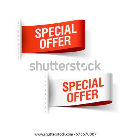 Special Offer ribbon, red and whiite clothing labels, vector illustration