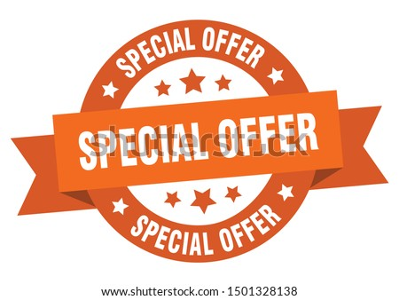 special offer ribbon. special offer round orange sign. special offer