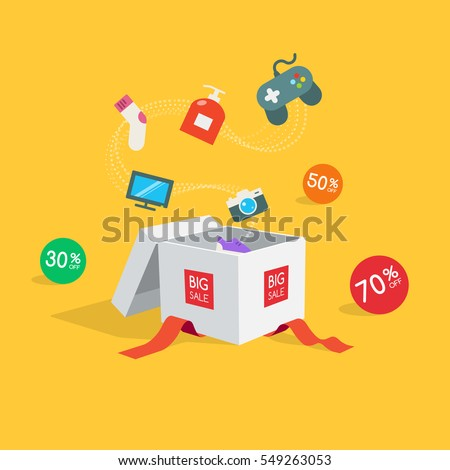 Special offer sale discount symbol with open gift and flow goods isolated on yellow background. Easy to use for your design with transparent shadows.