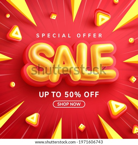 Special Offer Sale 50% Off Poster or banner with Yellow Sale font on red background for Retail,Shopping or promotion.Sale banner template design for social media and website.50% Off sale special offer