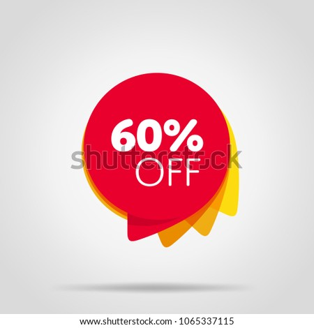 Special offer sale red tag isolated vector illustration. Discount offer price label, symbol for advertising campaign in retail, sale promo marketing, 60% off discount sticker, ad offer on shopping day