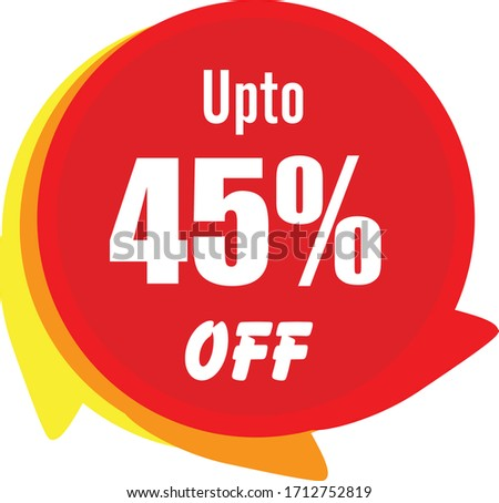 Special offer sale red tag isolated vector illustration. Discount offer price label, symbol for advertising campaign in retail, sale promo marketing, 45% off discount sticker, ad offer on shopping day