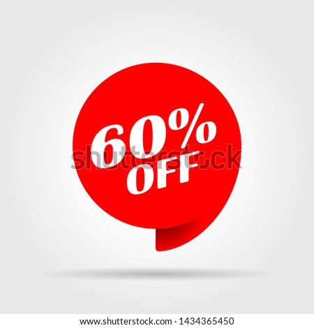Special offer sale red tag. This is the concept of the price list for discounts, of an advertising campaign, advertising marketing sales, a 60 percent off discount, a unique offer. Vector illustration.