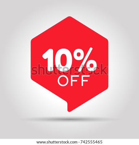 Special offer sale red tag. This is the concept of the price list for discounts, of an advertising campaign, advertising marketing sales, a 10% off discount, a unique offer. Vector illustration.