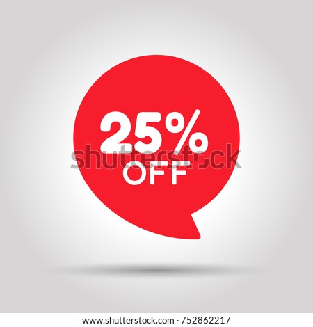 Special offer sale red tag. This is the concept of the price list for discounts, of an advertising campaign, advertising marketing sales, a 25% off discount, a unique offer. Vector illustration.