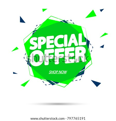 Special Offer, sale tag, banner design template, app icon, vector illustration
