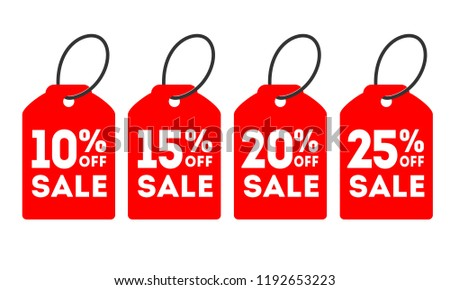 Special offer sale tag discount. 10%, 15%, 20%, 25% OFF Sale Discount Banner. Special offer price signs. Sale red Tag Isolated Vector Illustration.