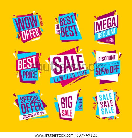 Special offer sale tag discount symbol retail sticker sign price set isolated on yellow background modern graphic style vector illustration. Big sale with wow offer badge.
