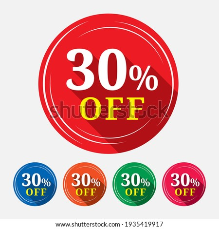 Special offer sale tag isolated with 30% in white background. 30% off discount tag, label, symbol, sticker  for advertising campaign in retail on shopping day. Stock photo ©