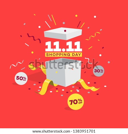 Special offer 11.11 Shopping day discount symbol with open gift, discount labels and confetti. Easy to use for your global shopping world day sale promotion.