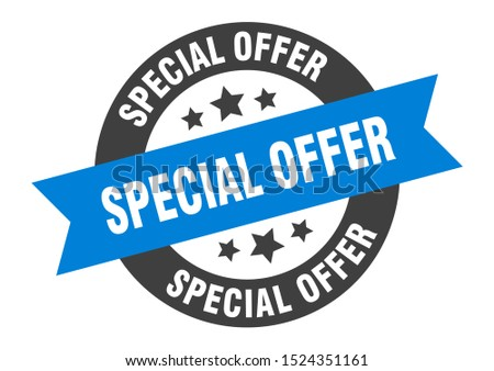 special offer sign. special offer blue-black ribbon sticker