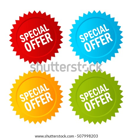 Special offer star icon set vector illustration isolated on white background. Special offer labels. Special offer note papers. Special offer clip art.